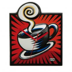 Coffee Break de Burton Morris Horloge Pop Art rouge 30 cm