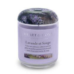 Bougie cire de soja parfumée Lavande et Sauge Heart & Home