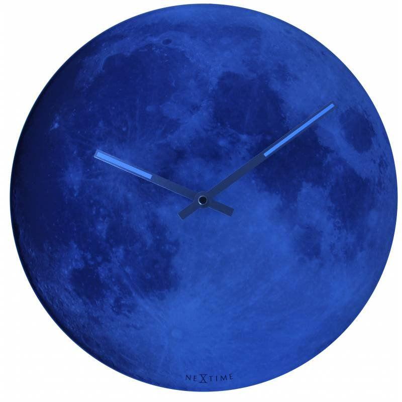 blue moon nextime horloge phosphorescente en verre 30 cm. Black Bedroom Furniture Sets. Home Design Ideas