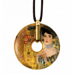 Pendentif reproduction d art porcelaine Klimt Adèle Bloch Bauer