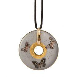Pendentif reproduction d art en porcelaine Charlotte Grey Butterflies