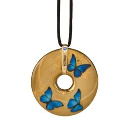 Pendentif reproduction d art en porcelaine Charlotte Blue Butterflies