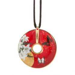 Pendentif reproduction d art en porcelaine Charlotte Lillies Red