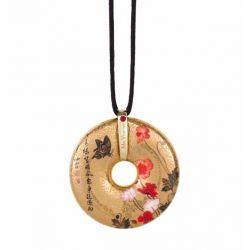 Pendentif reproduction d art en porcelaine Coquelicots Yuanyu
