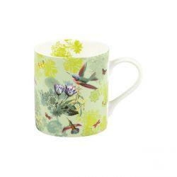 Pretty birds, mug en porcelaine Könitz décorée, 38,5 cl