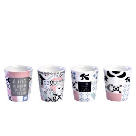 carreaux d co coffret 4 gobelets caf porcelaine foxtrot. Black Bedroom Furniture Sets. Home Design Ideas
