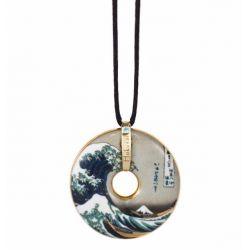 Pendentif reproduction d art en porcelaine La Vague Hokusai
