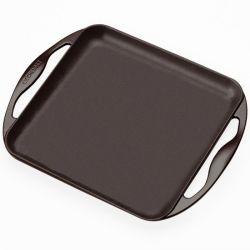 Plancha carrée en fonte Le Creuset, 2 poignées 24 cm, noir mat