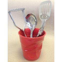 Froissé Revol Rouge piment Pot à ustensiles ou vase, 1 litre