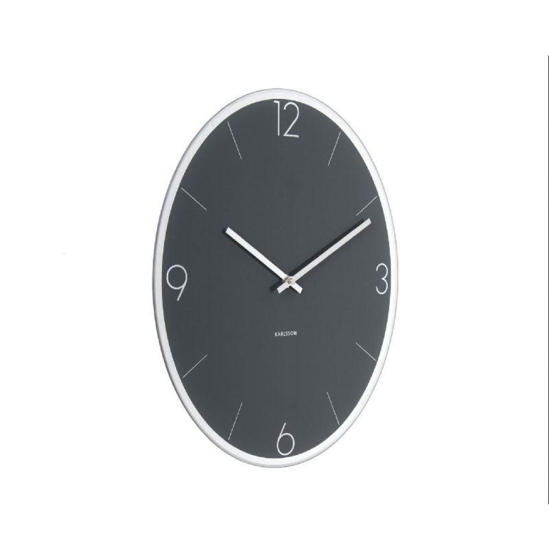 elliptical karlsson horloge murale ovale en verre 39x32cm. Black Bedroom Furniture Sets. Home Design Ideas