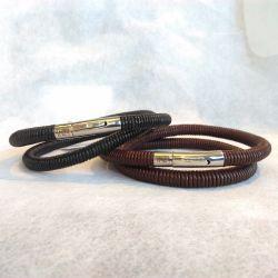 Bracelet Inz-i Bruno en cuir noir ou marron, pour homme élégant