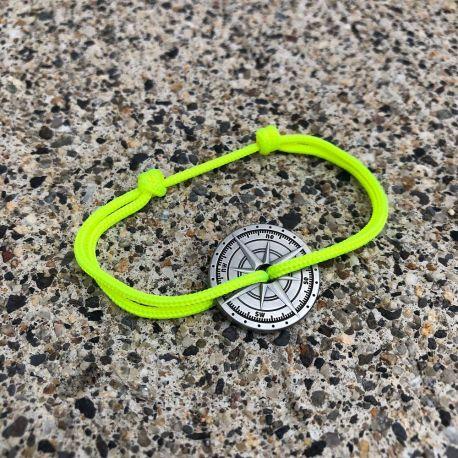 Étésien bracelet corde jaune fluo boussole Vent à la Française