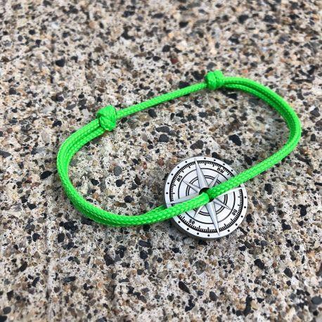Carcenet bracelet corde vert fluo boussole Vent à la Française