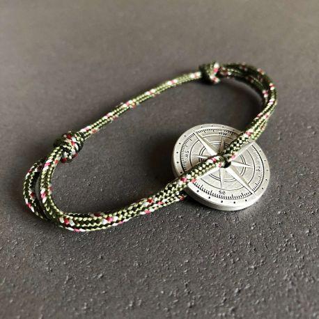 Tramontane bracelet corde kaki boussole Le Vent à la Française