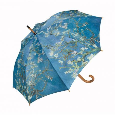 """Parapluie canne Manche bois """"Amandier en Fleurs"""" de Van Gogh"""