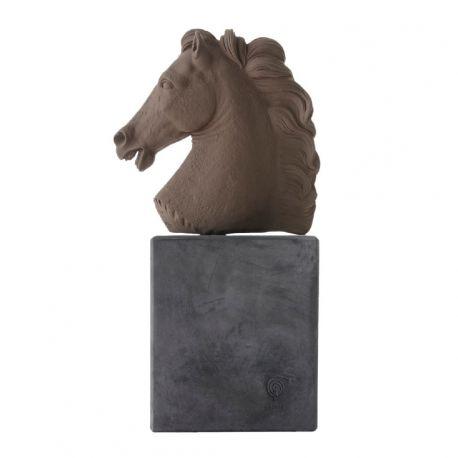 Tête de cheval - Sculpture, sienne ou noire, 31 cm - Sophia
