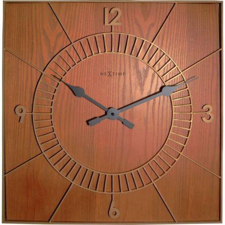 Wood Square Nextime Horloge murale en bois 50 cm