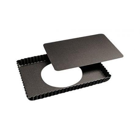 Moule à tarte rectangulaire fond amovible acier anti-adhésif