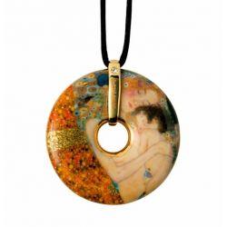 Pendentif reproduction d art en porcelaine Klimt Les Trois Ages