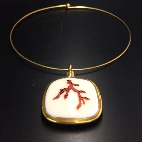 Ras de cou avec pendentif Cassandre Bijoux Porcelaine