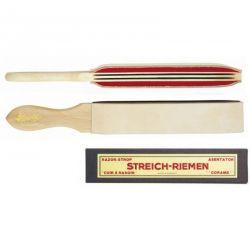 Cuir à rasoir raquette Herold, 2 côtés de peau sur feutre, 32 cm