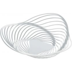 Trinity corbeille Alessi inox, blanc design Adam Cornish