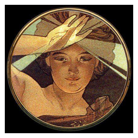 "Miroir de poche, ""Etoile du matin"" de Mucha"