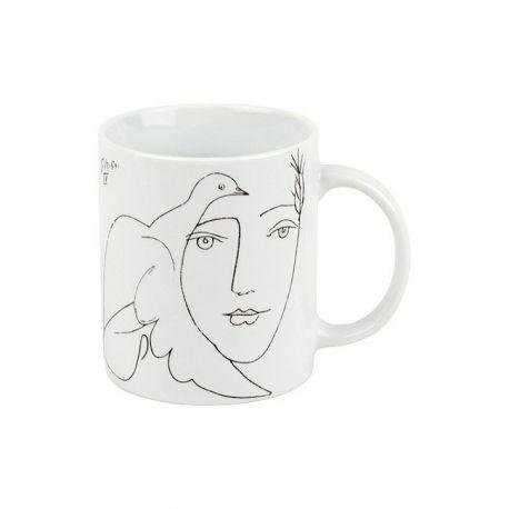 Visage et Colombe de Picasso, mug en porcelaine Könitz