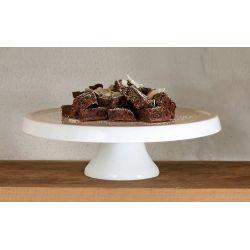 Grande Asa Selection Plat à tarte sur pied en porcelaine blanche