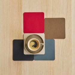 Asa Selection Set 4 dessous de verre aspect cuir 3 teintes