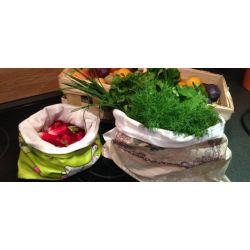 Sac à salades en coton à beurre et coton enduit - Sacasalades