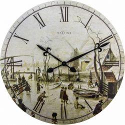 Winter on ice Nextime Horloge murale en bois 50 cm