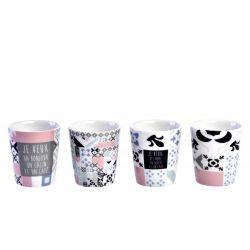 Carreaux déco - Coffret 4 gobelets à café Porcelaine - Foxtrot