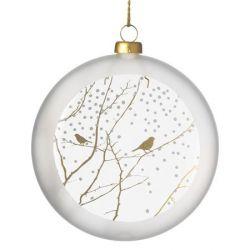 Räder Boule de Noël en verre satiné, motif Branches & Oiseaux