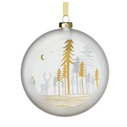 Räder Boule de Noël en verre satiné, motif Sapins et renne 10 cm