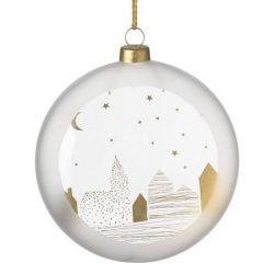Räder Boule de Noël en verre satiné, motif Village dans la nuit