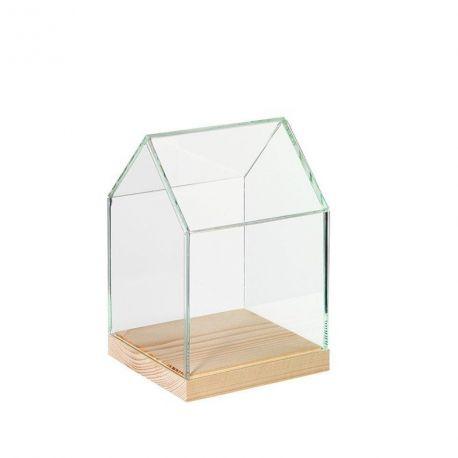 Vitrine maison décorative en verre et pin naturel -
