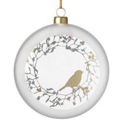 Räder Boule de Noël en verre satiné, motif Oiseau, 10 cm