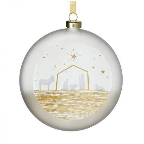 Räder Boule de Noël en verre satiné, motif Crèche, 10 cm