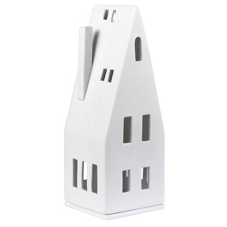 Maison au toit pentu photophore en porcelaine blanche