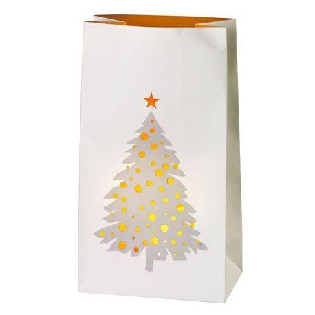 Set de 2 photophores sacs en papier, Décor sapin de Noël