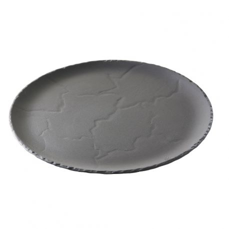 Basalt Plat à tarte ou pizza, en porcelaine, façon ardoise