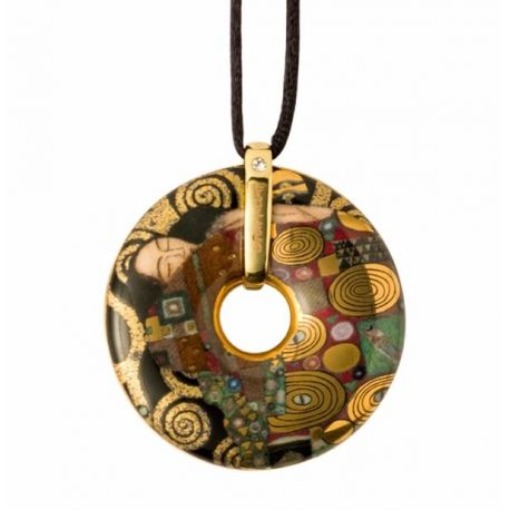 Pendentif reproduction d art en porcelaine Klimt Accomplissement