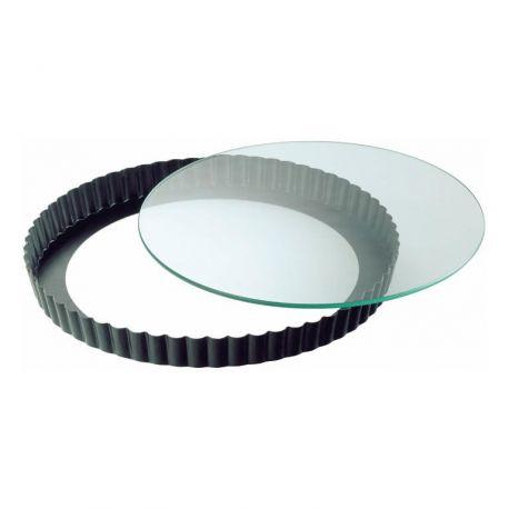 Moule à tarte fond verre et contour acier 24 cm Kaiser