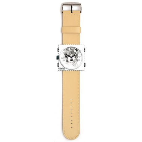 Stamps - Bracelet cuir beige