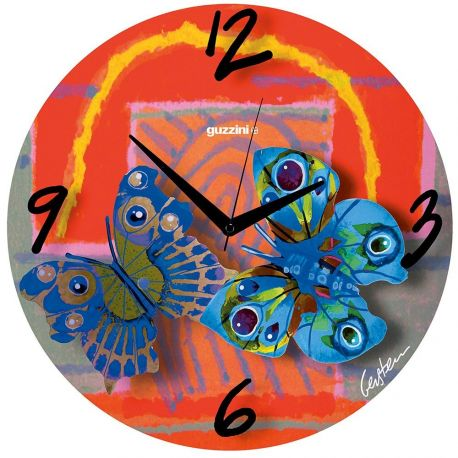 Volare red - Horloge murale en verre 48 cm - Guzzini
