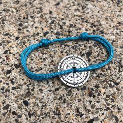 Albe bracelet corde bleu fluo boussole Le Vent à la Française