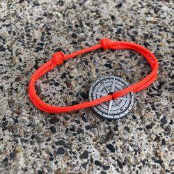 Autan bracelet corde orange fluo boussole Le Vent à la Française