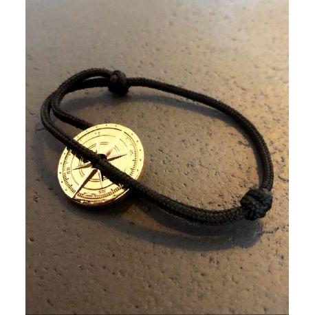 Solaire bracelet corde noir boussole or Le Vent à la Française
