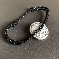 Tempête bracelet corde noir blanc boussole Vent à la Française